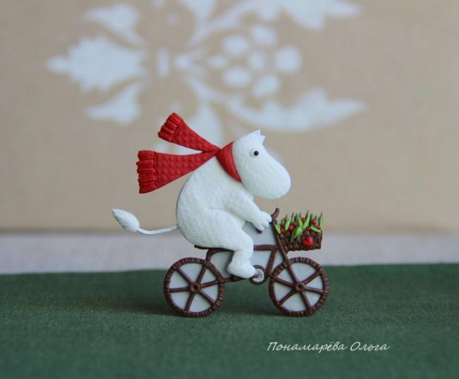 Moomin-troll. Cyclist. Brooch
