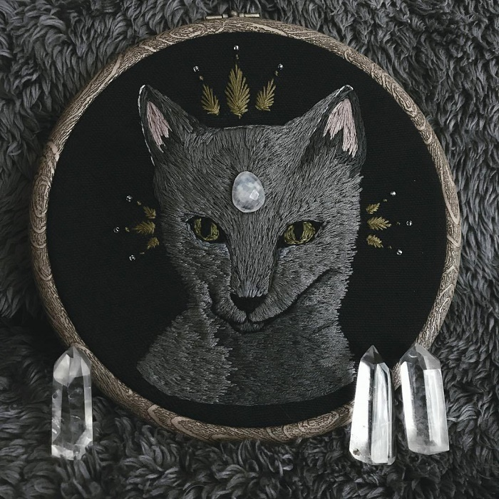 The first familiar. Embroidery by Lyla Mori
