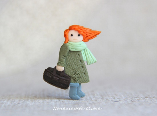 'The wind of change' brooch of polymer clay. 'Tomorrow the wind will change, Tomorrow the past is over. It will come, and will be a kind, affectionate Wind of change. A miracle on the palm - Olga Ponomareva Miniature brooches