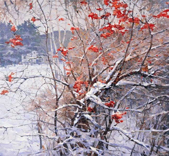 Vasily Nesterenko. Red Rowan in the snow