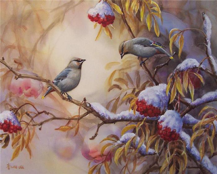 Wee Lee. Birds eating rowan berries