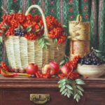 Yuri Kudrin. Still life with red rowan
