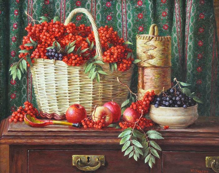 Yuri Kudrin. Still life with red rowan