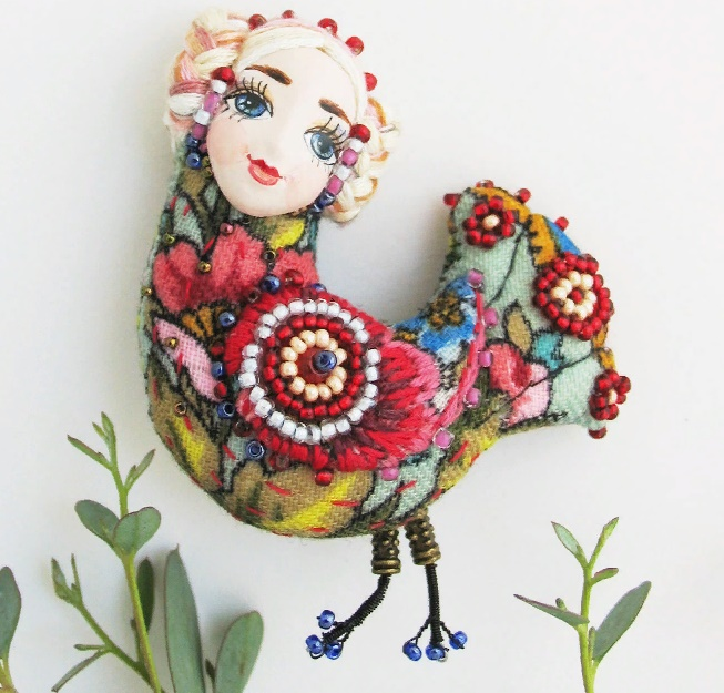 Bird of Happiness. Silk, beads, jovi, sintepon, Japanese beads, Czech beads. Size 8 cm