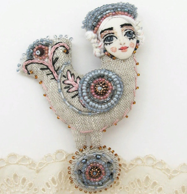 'The Maid with a Tambourine' brooch. Flax, silk, embroidery, beads
