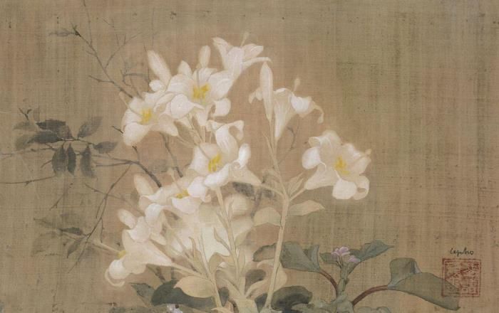 A bouquet of lilies. 1935. 34 x 54 cm. Ink and gouache on silk