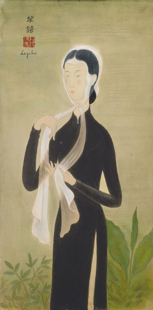 A standing lady. 39 x 19.5 cm. Ink and gouache on silk