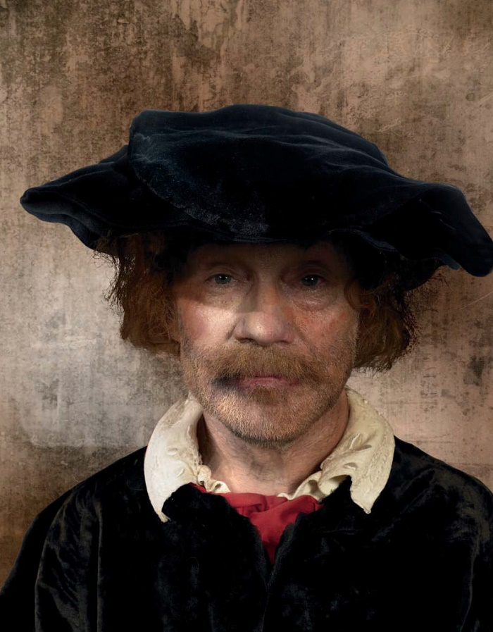 Alexandr Lenkov in Photo reproduction of the painting by Rembrandt Harmens van Rijn 'Self-portrait'. 1650