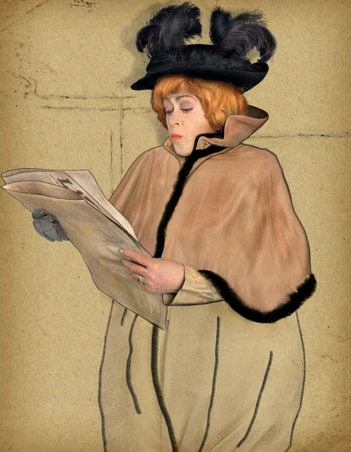 Alisa Freindlikh, Russian actress imitating the Poster by Henri de Toulouse-Lautrec to the performance of Jeanne Avril. 1893