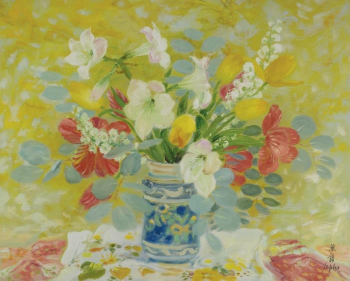 Anthuriums and tulips. 80.6 x 100.3 cm