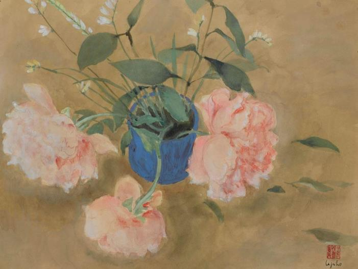 Blue vase with flowers. ca. 1950. 40 x 52 cm watercolor
