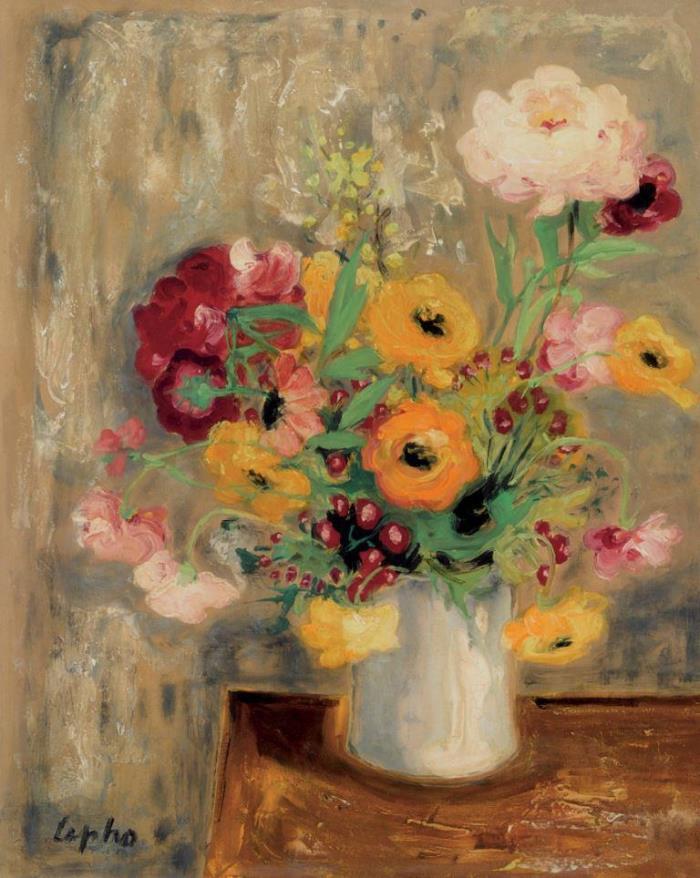 Bouquet of flowers. 1950. 50 x 40 cm. Gouache on silk