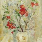 Chinese vase with scarlet flowers. 41 x 23.8 cm