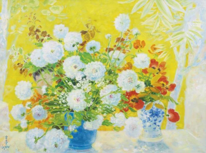 Harmony of white and yellow. 97.2 x 129.5 cm