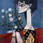 Jacqueline with flowers. 1954. Pablo Picasso