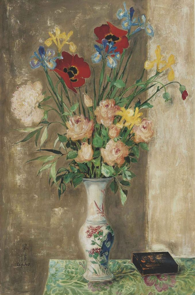 Lacquered box and vase with flowers. 90 x 60 cm. Oil, silk