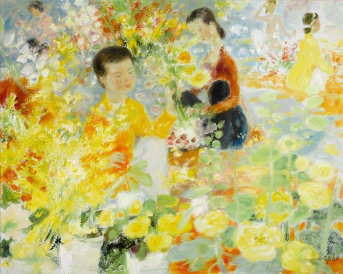 Market of flowers. 73.5 x 92 cm