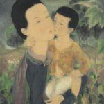 Motherhood. 54.5 x 46 cm. Ink and gouache on silk