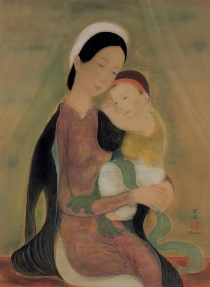 Motherhood. ca. 1937. 62 x 46 cm. Ink and gouache on silk