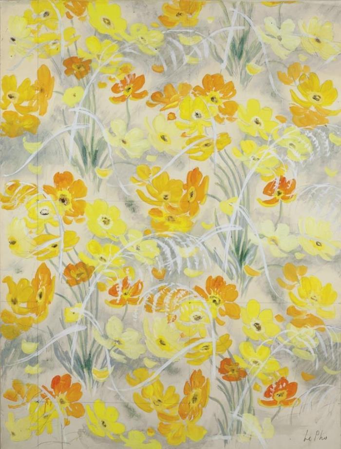 Orange and yellow flowers. 87 x 64.5 cm. Mixed technique