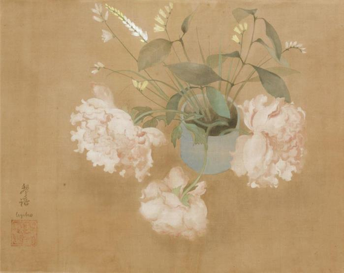 Peonies in a vase. 46.5 x 61.5 cm. 1932. Indian ink and gouache on silk