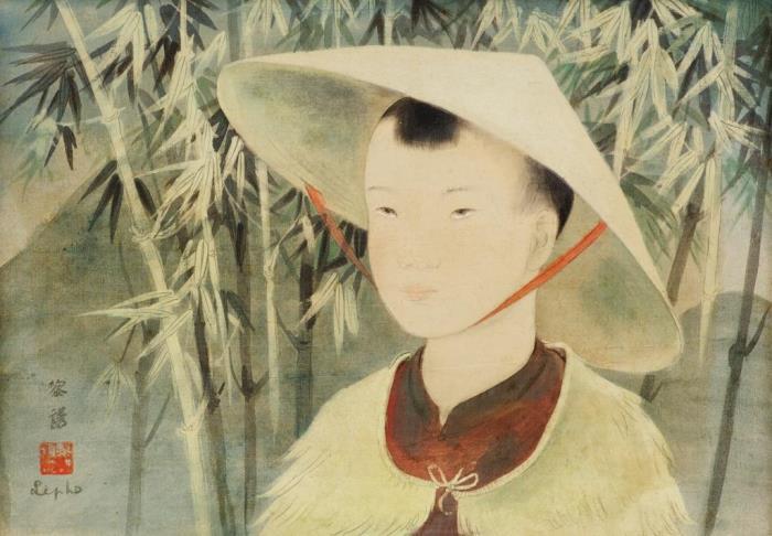 Portrait of a Vietnamese boy. 25 x 35 cm. Indian and gouache on silk