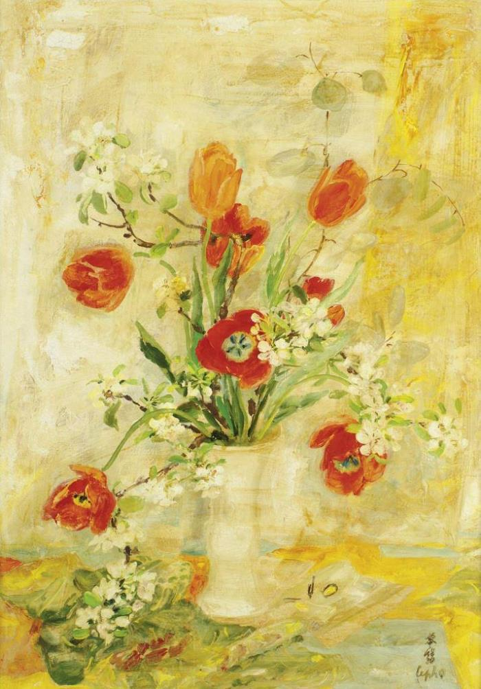 Red tulips. 92 x 65 cm oil, silk