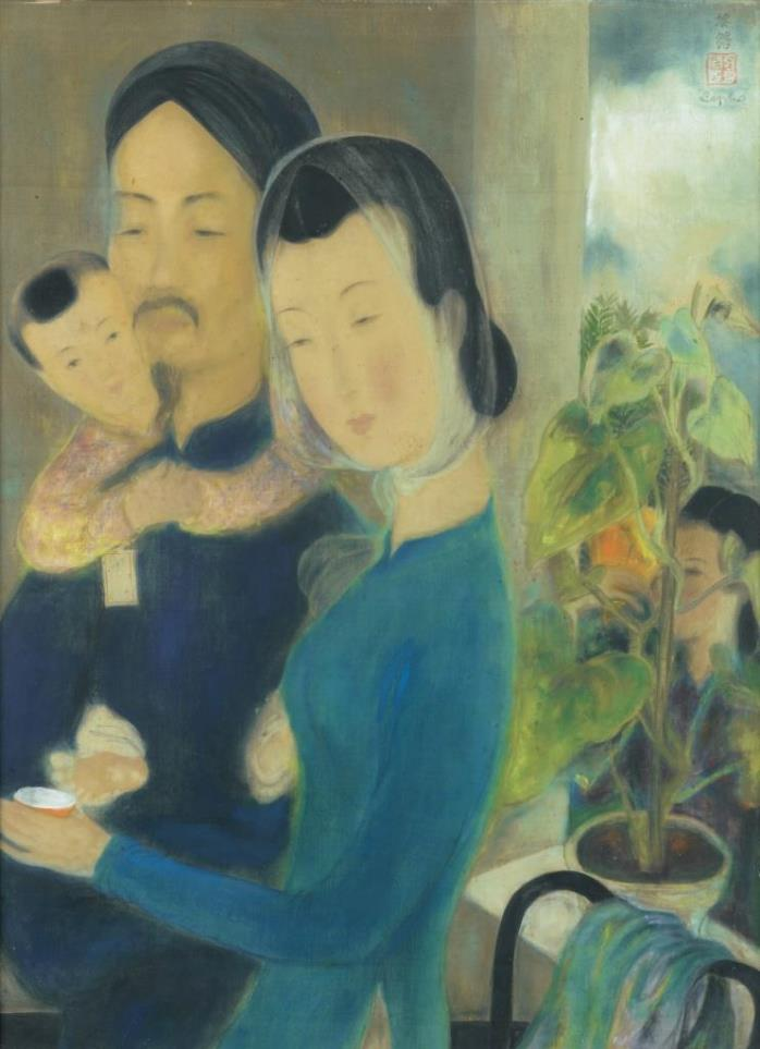 Small family. 1940's. 59 x 44 cm. Ink and gouache on silk