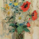 Spring flowers in a vase. 1950. 34 x 22 cm oil, silk