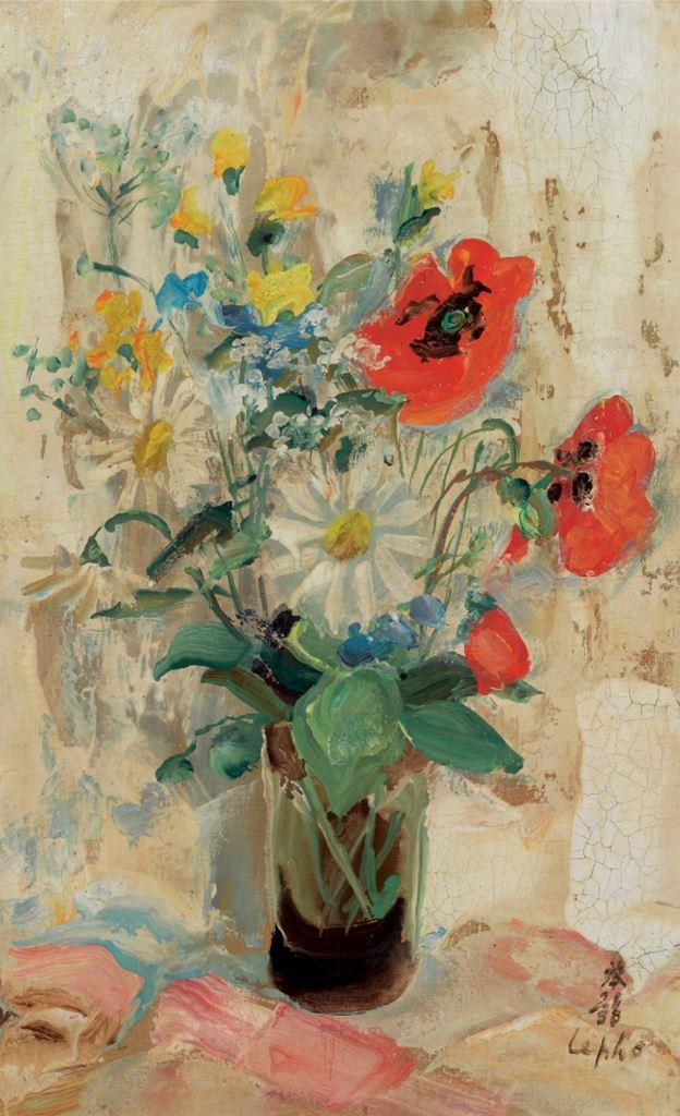 Spring flowers in a vase. 1950. 34 x 22 cm oil, silk