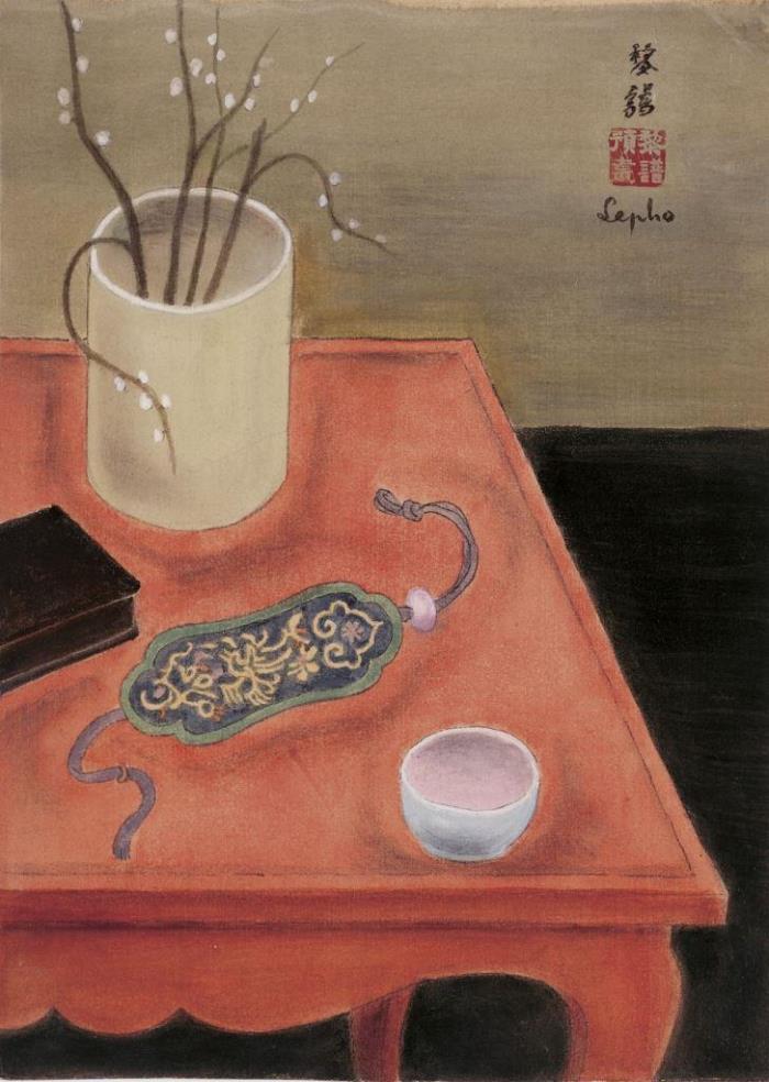 Still life on the table. ca. 1937. 27.5 x 19.5 cm. Ink and gouache on silk