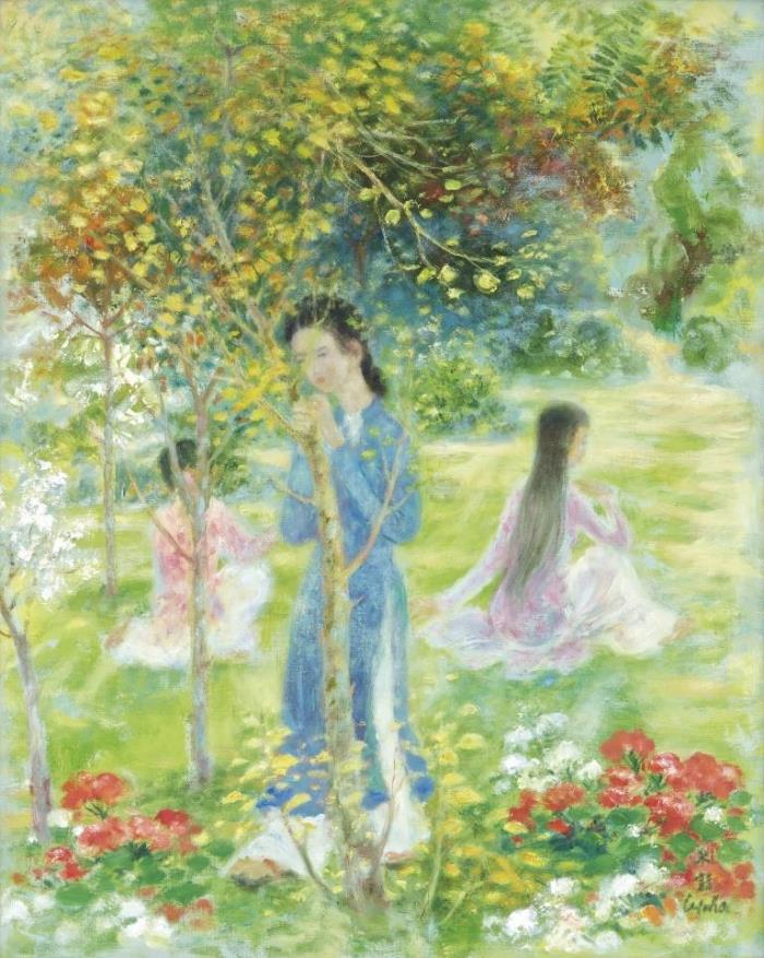 Three ladies in the garden. 91.5 x 74 cm