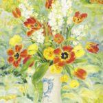 Tulips and dahlias. 99 x 72.4 cm