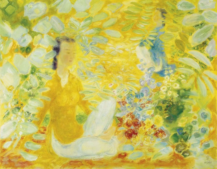 Two women in the garden. 112.7 x 144.5 cm