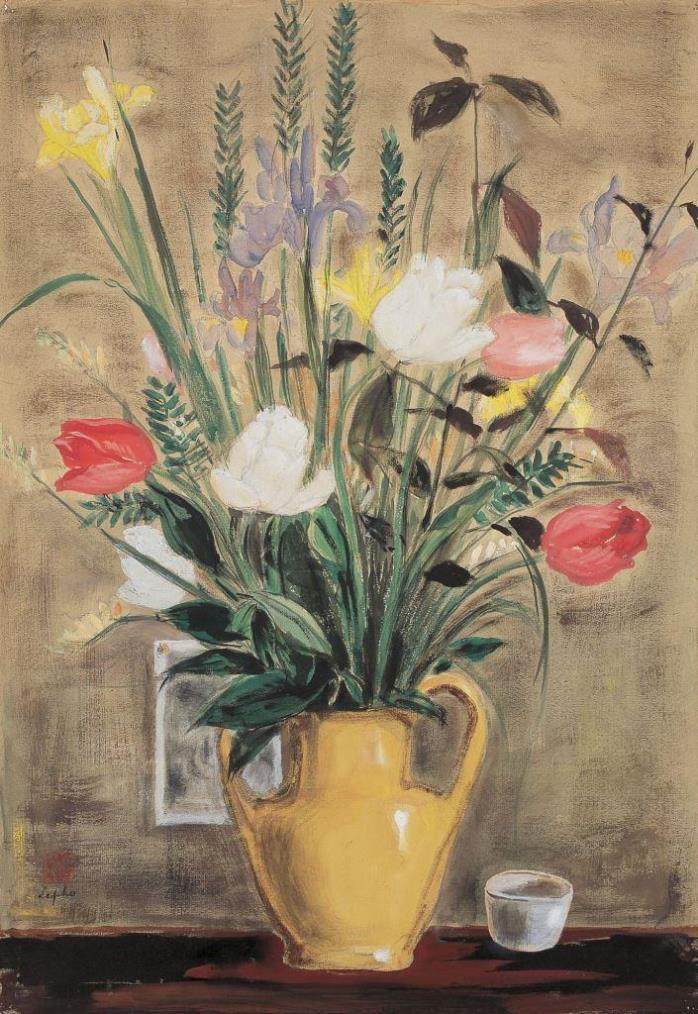 Watercolor -Flowers. ca. 1950. 62.5 x 43 cm