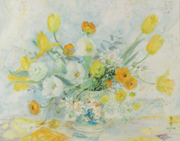 White and yellow tulips. 65.5 x 81 cm