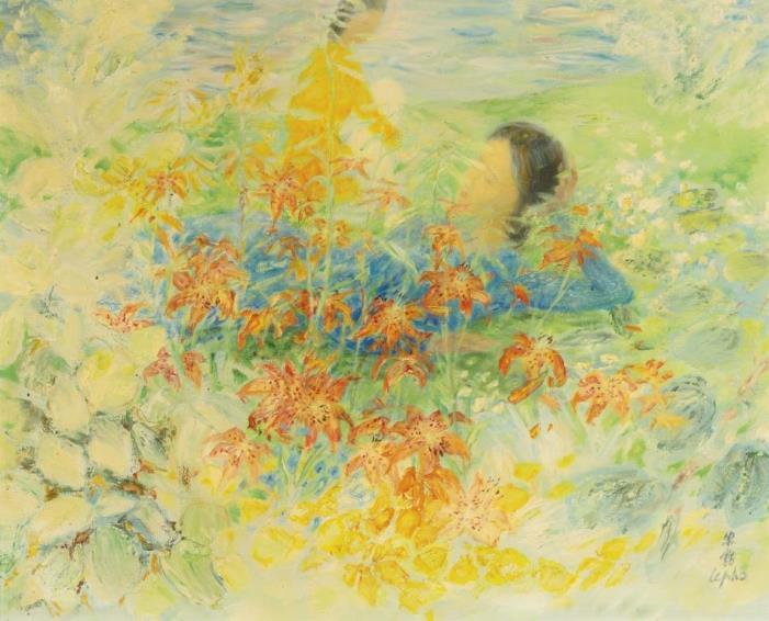 Young woman among lilies. 81 x 100 cm