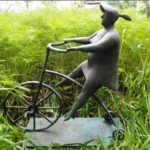 A cyclist. Bronze sculpture