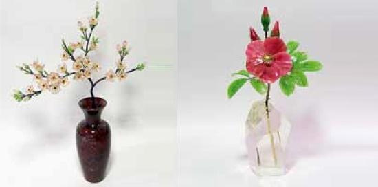 Sakura. 2009. Rose quartz, jade, spinel, jasper, metal. Rosehip 2011. Jade, rhodonite, rock crystal, metal