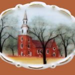 Bruton Parish Church brooch. Jewelry alloy, porcelain, enamels. 5.6 cm