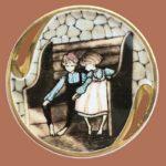 Friendship brooch. Jewelry alloy, porcelain, enamels
