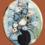 Pat's flowers brooch. Jewelry alloy, porcelain, enamels. 4.5 cm
