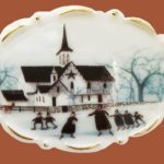 Skating at the star barn brooch. Jewelry alloy, porcelain, enamels. 5.6 cm