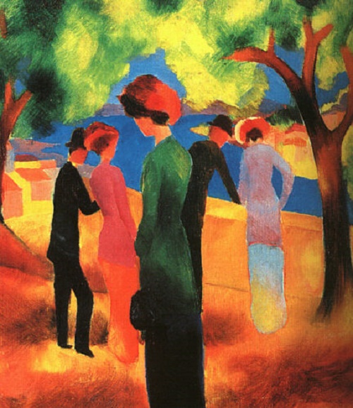 A woman in a green jacket. August Macke