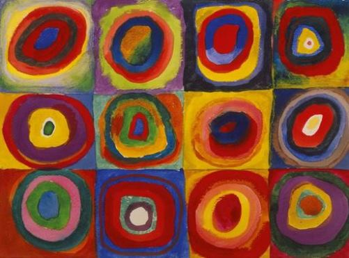 Colorful sketch. Squares with concentric rounds, 1913