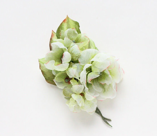 Tatyana Biota realistic flower brooches. A branch with flowers of light green color. Silk, satin, crepe de chine. 11.5 cm