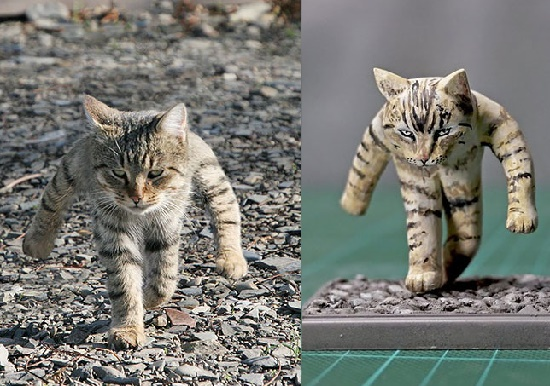 A walking cat photo (left), which has become the Internet meme and sculpture of walking cat (right). Japanese artist Meetissai Internet Meme sculptures