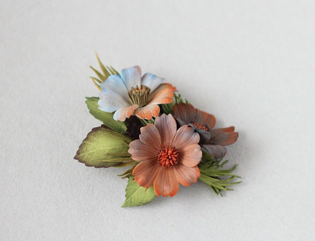 Multi-colored reddish blue terracotta gray flowers brooch. Foamiran, wire, tape, paint, pastel, 9.5 cm