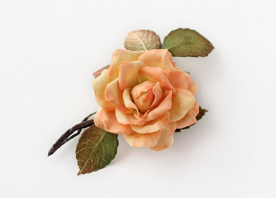 Peach color rose. Foamiran, base for brooches, wire, tape, pastel, paint. 9.5 cm