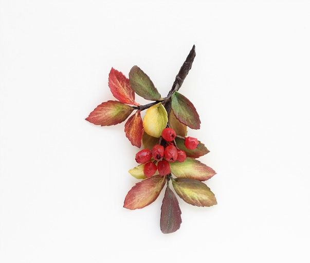 Rowan branch with berries and leaves brooch